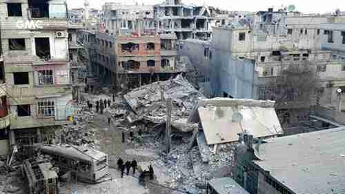 Eastern Ghouta buildings destroyed by airstrikes and shelling from Bashar al-Assad's armed forces (AP)