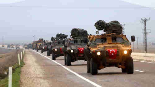 Turkish special forces being deployed to Afrin, Syria, last month (RT)