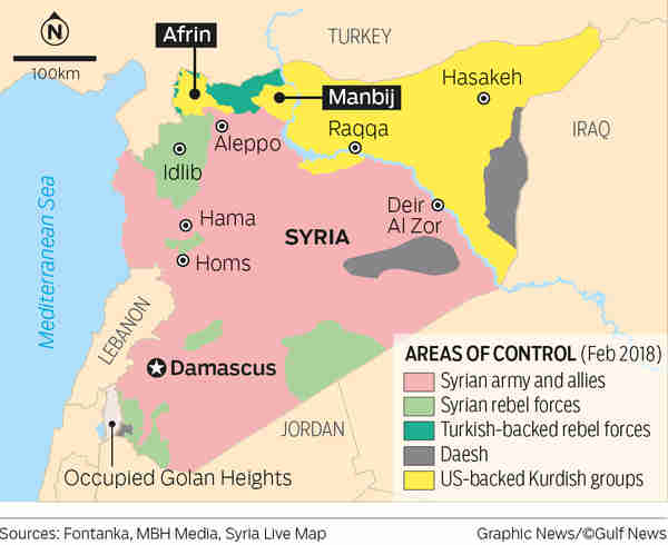 Turkish-backed FSA forces are fighting Kurds in Afrin, who will be helped by Kurdish forces in Manbij traveling to Afrin (AFP)