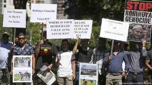 Demonstrators protesting Myanmar (Burma) genocide of Rohingyas at ASEAN summit on Saturday (AP)