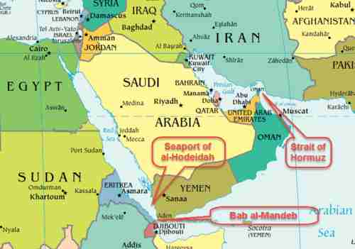 Map of Mideast, highlighting Yemen's Hodeidah seaport, and shipping choke points Strait of Hormuz and Bab el-Mandeb Strait
