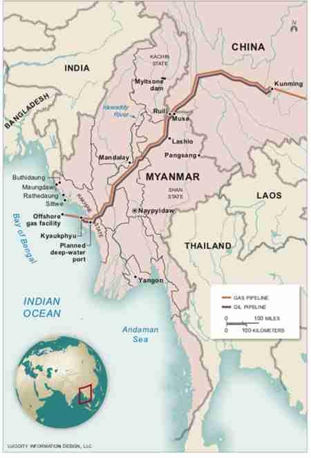 Map of China-Myanmar Economic Corridor - CMEC (The Irrawaddy)