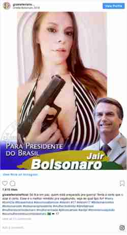 Campaign tweet from October supporting Jair Bolsonaro's policies on women and gun ownership (BBC)
