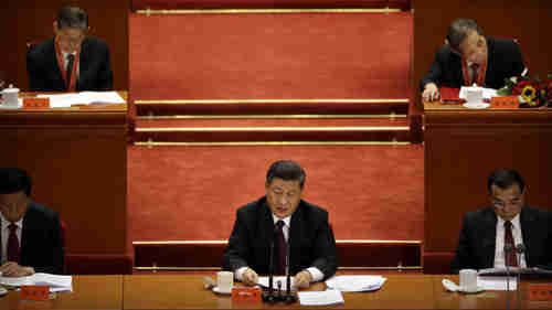 Xi Jinping gives his speech to the Great Hall of the People on December 18 (AP)