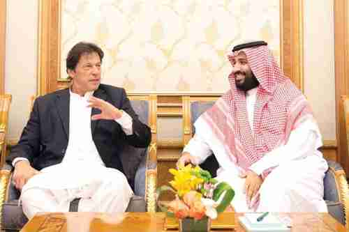 Pakistan's president Imran Khan and Saudi crown prince Mohammed bin Salman meet in October in Riyadh (SPA)