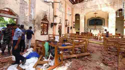 One of the blasts tore through St. Sebastian's Church in Negombo, north of Colombo, Sri Lanka. (Getty)