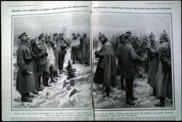 """Christmas truce drawing from the London News of January 9, 1915. The drawing's caption reads, in part, """"British and German soldiers arm-in-arm and exchanging headgear: a Christmas truce between opposing trenches. Drawn by A. C. Michael."""""""